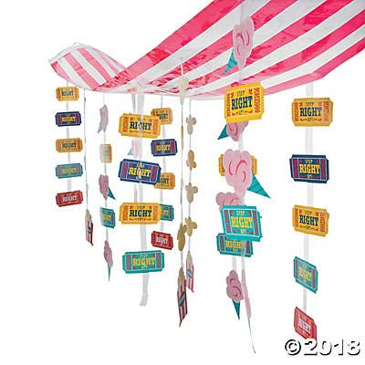 Fun Express Carnival Circus Party Striped Hanging Ticket Ceiling Decoration (2-Pack)