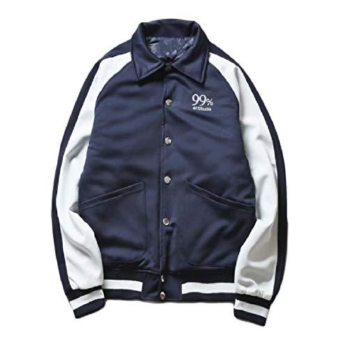 Howme-Men Classic with Pockets Turn Down Collar Warm Fall Flight Jacket Navy blue