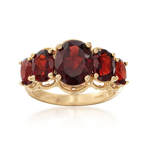 Ross-Simons 4.50 ct. t.w. Garnet Five-Stone Ring in 18kt Gold Over Sterling ()
