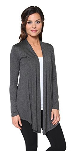Top Knit Ballet Hem - Free to Live Women's Light Weight Open Front Cardigan Sweater Made in USA (Large, Charcoal)