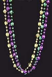 "Mardi Gras, Purple, Green, and Gold Metallic Disco Ball Beads, 20 mm, 48"", 3 Pack (3pcs)."