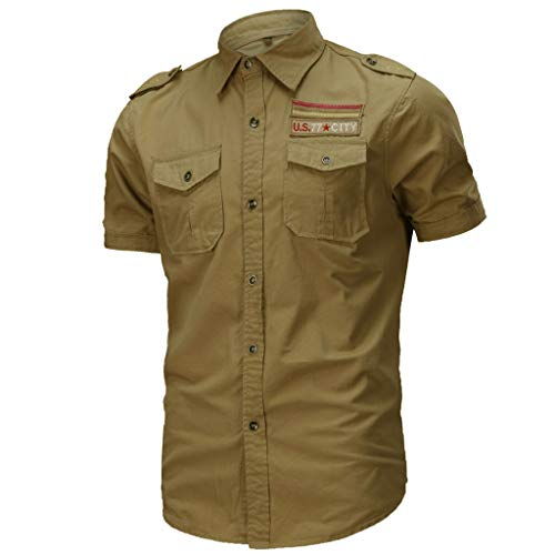 Allywit Military T-Shirt for Mens, Men's Slim Fit Button Shirt with Pocket Short Sleeve Big and Tall Khaki