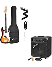 $247 » Donner DPB-510S Full-Size Full Size 4 Strings Electric Bass Guitar Sunburst Beginner Starter Kit with Bag and Bass Amp 25W Bass Guitar Amplifier DBA-2