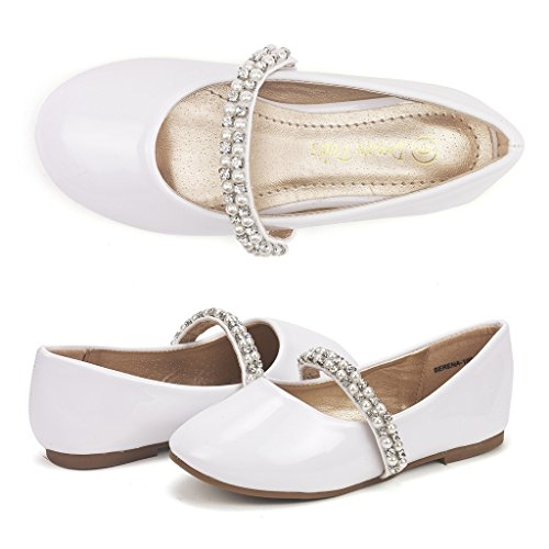 DREAM PAIRS Little Kid Serena-100-White Pat Girl's Mary Jane Ballerina Flat Shoes - 3 M US Little (Straps Girls Dress)