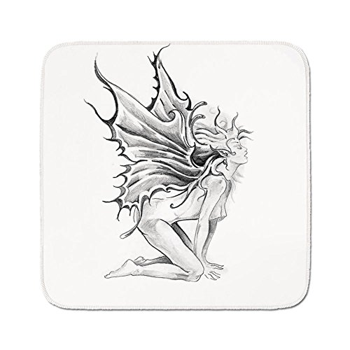 (Cozy Seat Protector Pads Cushion Area Rug,Tattoo Decor,Artistic Pencil Drawing Art Print Nude Fairy Opening its Angel Wings,Black and White,Easy to Use on Any Surface)