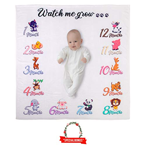 Baby Girl, Boy or Twins Monthly Milestone Blanket| 1-12 Months | Includes a Floral Wreath | Best Baby Shower Gift | Photography Backdrop Photo Prop for Newborns. Personalized Baby Gift!