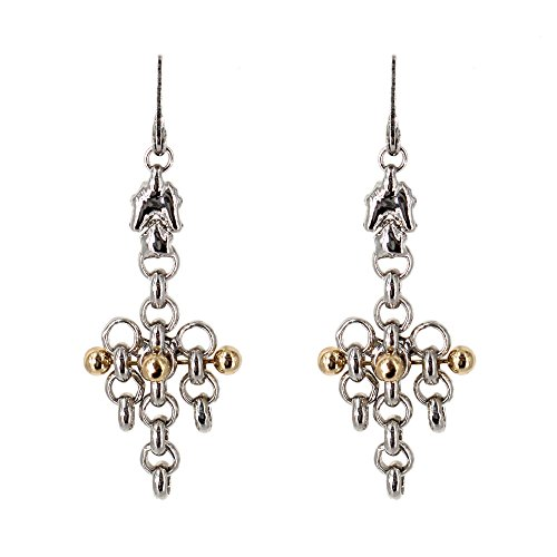 (Chrome and Gold Earrings BXE1–N SG Liquid Metal by Sergio Gutierrez. SG pouch & cleaning cloth included)