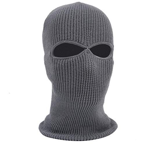WUAI Unisex Windproof Outdoor Full Face Cover Thermal Ski Mask Winter Hats Warm Knitted Beanie Hat(Grey,One Size)]()