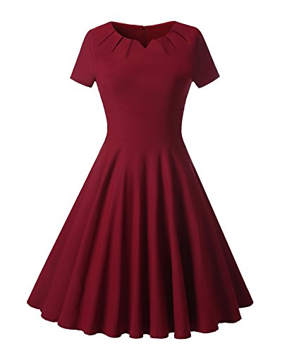 Gigileer Women's 1950s Retro Vintage Short Sleeve Party Swing Dress (S(2-4), Burgundy)