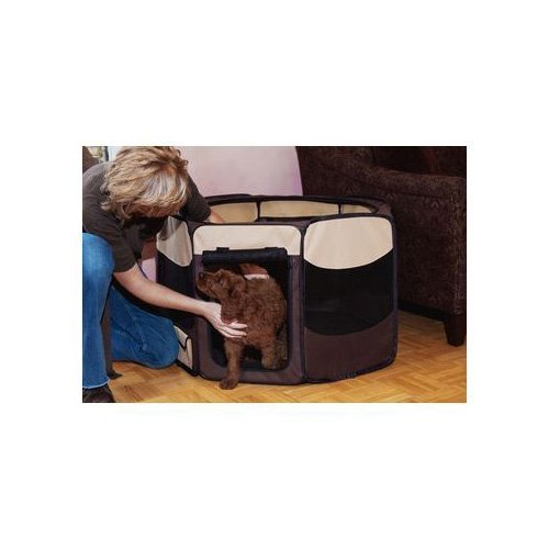 Pet Gear 46″ Sahara Octagonal Pet Pen, Large, Brown For Sale