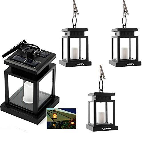 Set Light Solar Hanging (LEAGY 4 Pack Solar Outdoor LED Umbrella Lantern Hang Hanging Lamp LED Candle Light for Yard Garden Decoration (4Pack,Yellow Light))