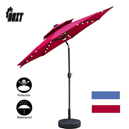 DOIT 9ft Solar LED Lighted Patio Table Umbrella with Crank and 8 Ribs,2 Layers with Ventilation,Tilt Adjustment Outdoor Umbrella with Fade Resistant Water Proof Fabric and Push Button,with Base