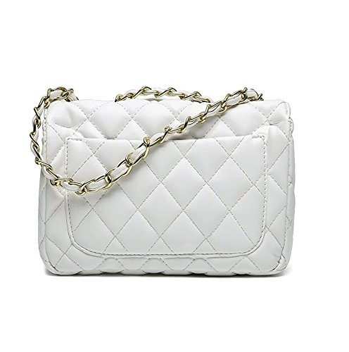 Bag Body Handbag 20 15 Chain Women Mini Lady Evening Classic Quilted Small Bag by Cross Shoulder White Clutch 7cm S Gold TOYU xw0pIWzq4