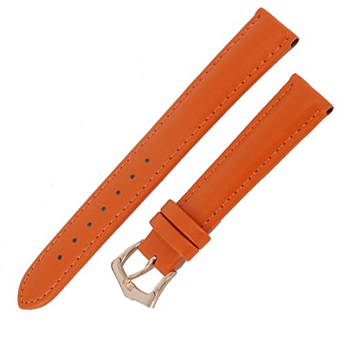 Ladies Leather Select Watch (New 16mm Ladies Orange Genuine Leather Watch Strap Band Padded SS Rose Gold Buckle)