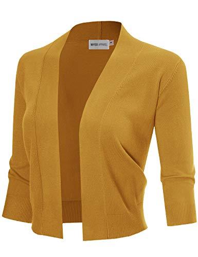 MAYSIX APPAREL Womens 3/4 Sleeve Solid Open Bolero Cropped Cardigan MUSTARD M