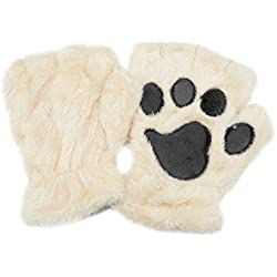 Tinksky Winter Women Cute Cat Claw Dog Paw Plush Mittens Short Fingerless Gloves Half Finger Gloves Christmas Gift (Beige)
