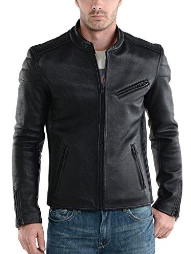 Mens Cow Leather Motorcycle Slim Fit Jacket LTC053 - S