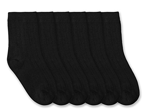 Jefferies Socks Boys Rib Crew Socks 6 Pair Pack (M - USA Shoe 12-6 - Age 5-10 Years, Black) (Dress Classic Sock Rib)