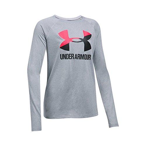 Under Armour Girls' Big Logo Slash Long Sleeve,Steel Light Heather (036)/Black, Youth Small ()