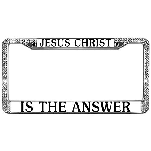 paipaidiedie Jesus Christ Glitter Rhinestone License Plate Frame is The Answer License Plate Frame Includes Screws Durable Custom Bling Rhinestone License Plate Frame