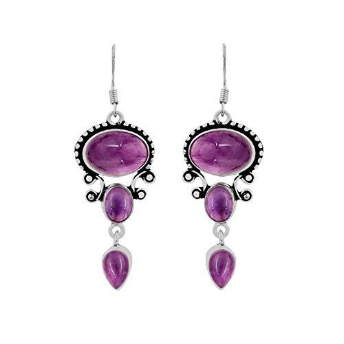 Natural Amethyst Earrings 925 Silver Overlay handmade Dangle Earrings for women ()