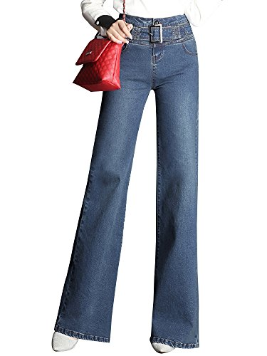 - Gooket Women's High Waist Wide Leg Denim Flare Jeans Palazzo Jeans Long Pants with Belt Navy Blue Tag 29-US 0