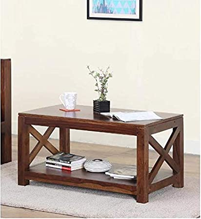 Furniture World Sheesham Wood X Factor Coffee Table Centre Table Sofa Table In Provincial Teak Finish