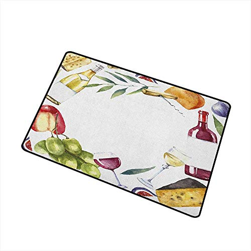 - Wang Hai Chuan Wine Welcome Door mat Round Frame with Hand Painted Food Objects Watercolor Wine Cheese Fruits Collection Door mat is odorless and Durable W29.5 x L39.4 Inch Multicolor