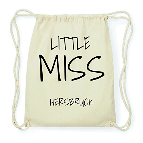 JOllify HERSBRUCK Hipster Turnbeutel Tasche Rucksack aus Baumwolle - Farbe: natur Design: Little Miss