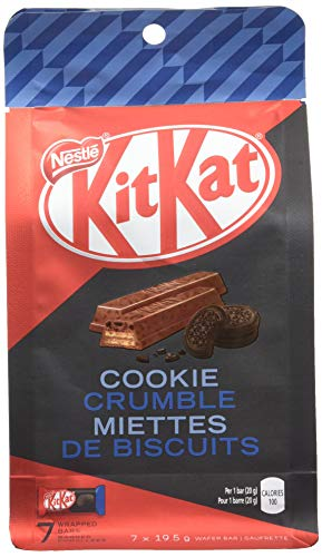 Kit Kat 2 Finger - Nestle Kit Kat Cookie Crumble Chocolate, 7 Individually Wrapped Bars, 19.5g each {Imported from Canada}