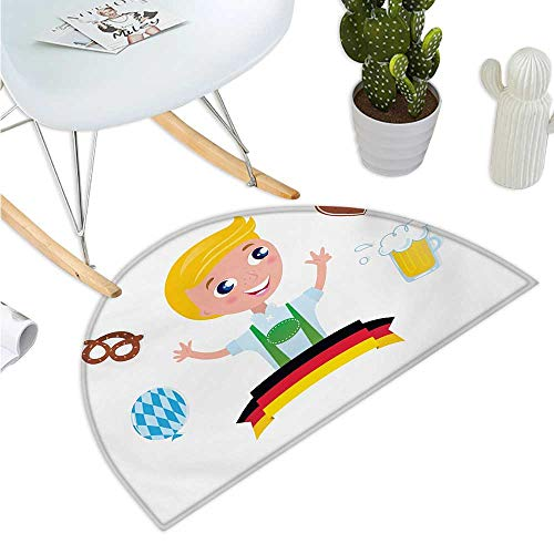 German Semicircular Cushion Bavarian Boy with Blonde Hair with Oktoberfest Symbols Beer Balloon and Pretzel Entry Door Mat H 23.6