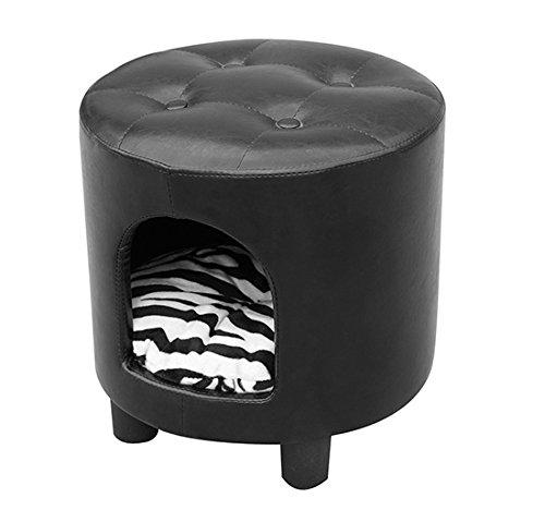 HOMCOM Taburete en Piel Caseta Perro Cama Gato Cueva Mascota 39x39x42 cm + Cojin Incluido: Amazon.es: Hogar