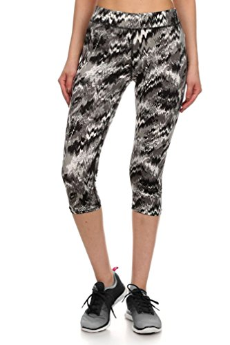 Simplicity Junior's Active Seamless Chevron Printed Capri Leggings Pants, XL