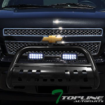 Topline Autopart Black HD Bull Bar Brush Push Front Bumper Grill Grille Guard w/ Skid Plate + 36W Cree LED Fog Light Lamp 07-14 Cadillac Escalade / Chevy Suburban / GMC - Chevrolet Avalanche 1500 Front Bumper