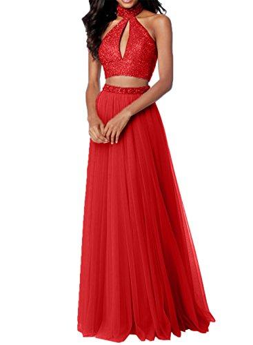 Damen Abschlussballkleider Abiballkleider Steine Tuell Rosa Rot Promkleider Teilig Charmant Abendkleider Zwei mit AUdHUxq