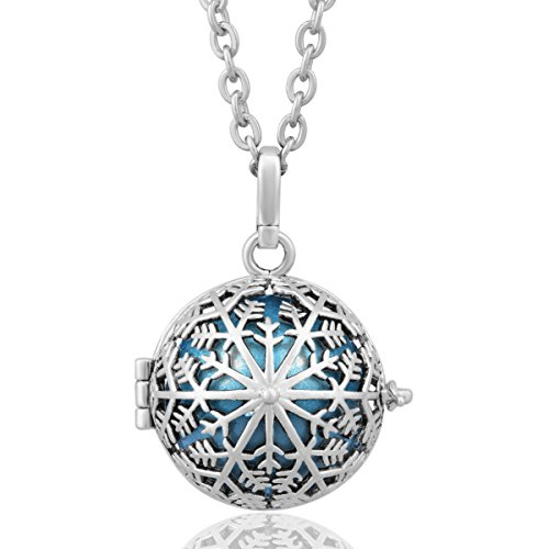 Womens Snow Flower - EUDORA Harmony Bola Sterling Silver Snow Flower Baby Tone Musical Chime Ball Pendant Pregnancy Necklace