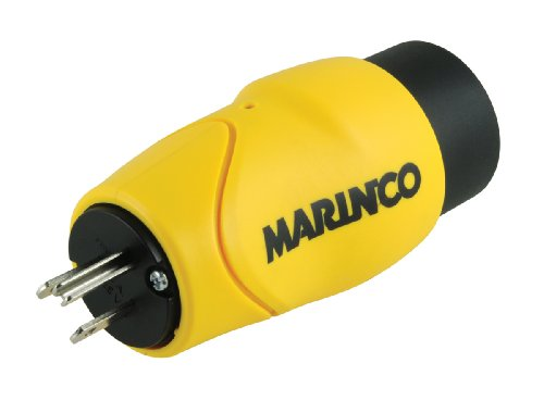Male Marine - Marinco EEL Straight 15-Amp Male Straight Blade to 30-Amp Female Locking Adapter