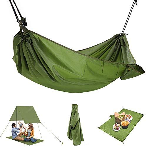 AYAMAYA Camping Hammock 4 in 1 Design, Multifunction Waterproof Hammock - Rain Fly/Tent Tarp/Camping Blanket/Rain Poncho Cover Coat Ground Cloth Footprint for Cycling Picnic Outdoor Activities by AYAMAYA