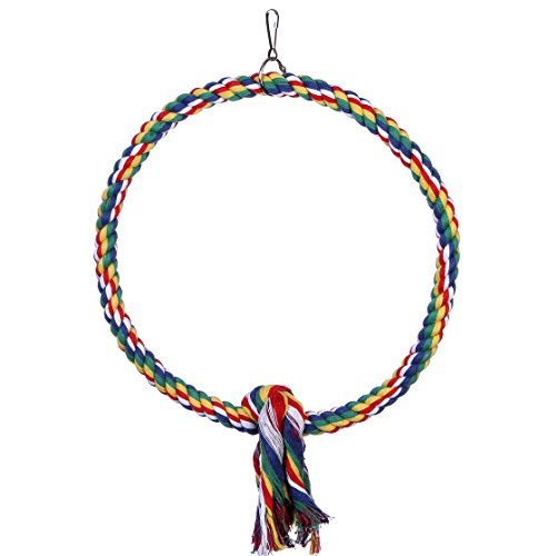 Bird Cotton Rope Perch Bungee Chew toy,Bird cage Swing Climbing Stand Bar (Large)](Large Bird Cages With Stand)