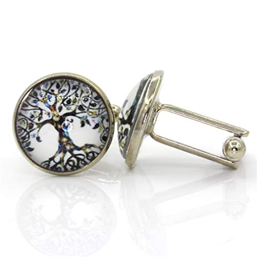 SDKGIsmga Novelty Luxury Blue White Cufflinks Round Men's Crystal Silver Cufflinks Shirt Cufflinks Men Jewelry CF-625-Silver ()