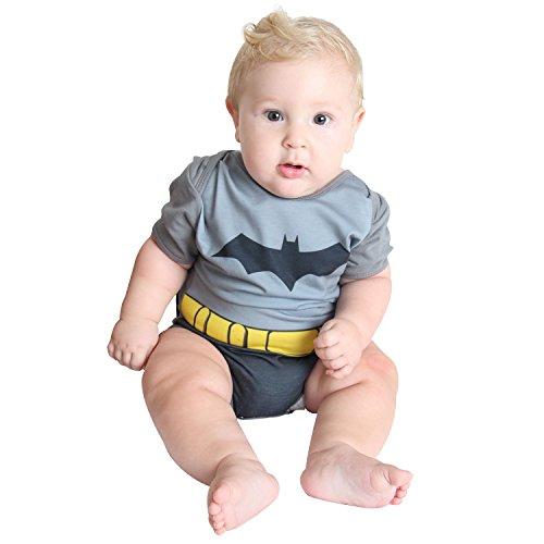 Fantasia Body Verão Batman Bebê 911419-GG, Cinza/Preto, Sulamericana Fantasias