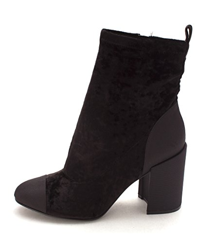 Ankle Womens Fashion Marc Itache Almond Toe Fisher Fabric Black Boots Fabric gccWSna