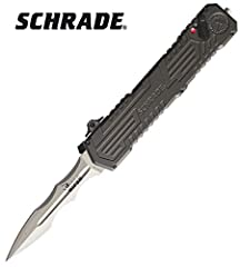 """Schrade - Viper 3rd Gen OTF Assist. Model SCHOTF3C. 5 1/4"""" closed. 3 3/8"""" 4034 stainless double edge dagger blade with bead blast finish. Features out-the-front mechanism. Simply flip the safety lock down to unlock the blade then push on the ..."""