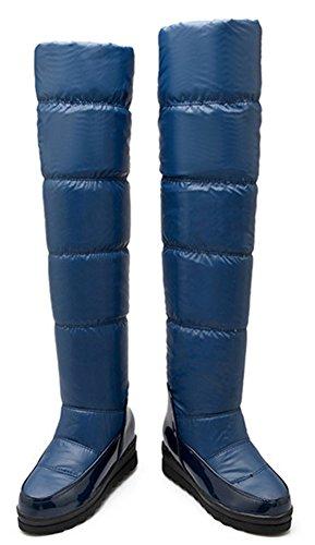 IDIFU Womens Warm Fully Faux Fur Lined Mid Wedge Heels Knee High Snow Boots Long Booties Blue gole7ACJ