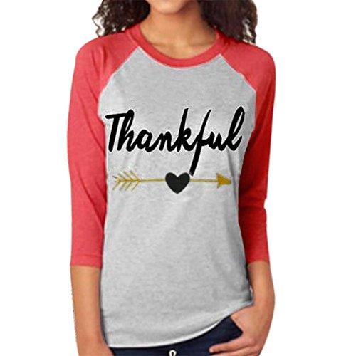 haoricu Women Blouse, Fall New Women Thankful Letter Arrow Printed Splicing Tops T-Shirt Blouse (XXL, Red)