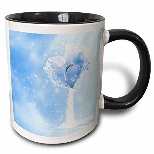 Waterfall Dolphin (3dRose Simone Gatterwe Designs Sea Life - Heart ocean waterfall dolphin blue fantasy - 15oz Two-Tone Black Mug (mug_172223_9))