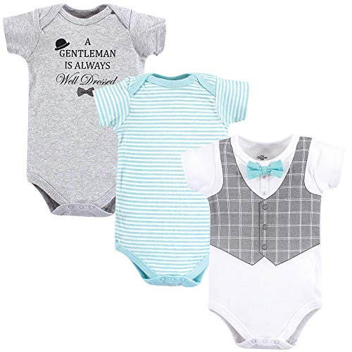 - Little Treasure Unisex Baby Cotton Bodysuits, Well Dressed 3-Pack Short-Sleeve, 6-9 Months (9M)