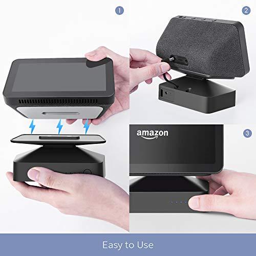 Base de bateria GGMM ES5 base para Alexa Echo Show 5, acessórios de alto-falante inteligente sem fio portátil- Cor Preta…