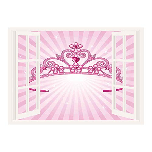 SCOCICI Wall Mural, Window Frame Mural/Kids,Beautiful Pink Fairy Princess Costume Print Crown with Diamond Image Art Decorative,/Wall Sticker Mural