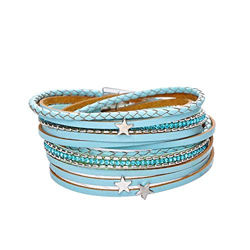 - AZORA Blue Multilayer Leather Wrap Bracelet Crystal Star Charm Braided Cuff Bangle Bracelets with Magnetic Clasp Handmade Jewelry for Women Teen Girls